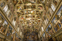 西斯廷教堂的内部和细节,梵蒂冈 免版税库存图片