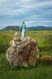 西方乌克兰,圣女玛丽亚雕塑  免版税库存照片