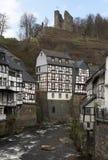 西方城市德国有历史的monschau 免版税库存图片