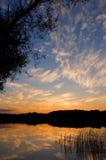 西方湖的日落 库存照片
