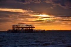 西方码头的日落 免版税库存照片