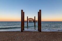 西方码头的日落 库存图片