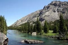 西方美丽的小河叉子蒙大拿的岩石 免版税库存图片