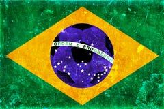 巴西旗子和足球葡萄酒照片  免版税库存照片