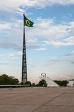 巴西旗子在巴西利亚 免版税图库摄影