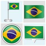 巴西旗子-套贴纸、按钮、标签和fl 免版税库存图片