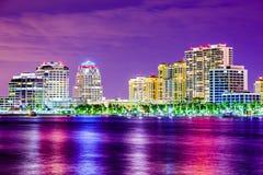 西棕榈海滩佛罗里达地平线 免版税库存图片