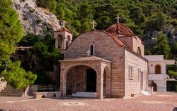 西比修道院, Loutraki,希腊的圣徒Patapios 库存照片