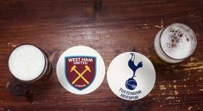 西汉姆联足球俱乐部伦敦对 托特纳姆热刺 免版税图库摄影