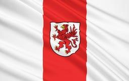 西波美拉尼亚省旗子在西北波兰 免版税库存照片