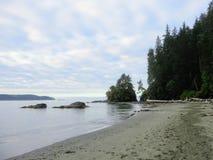 西海岸的海滩落后,温哥华岛,英国Colum 库存照片