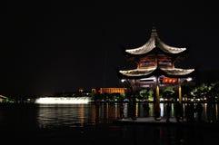 西湖的,杭州,中国一个亭子 图库摄影