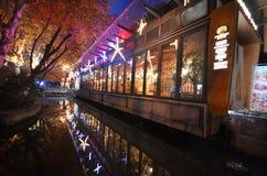 西湖Tiandi夜场面在杭州,中国 免版税库存照片