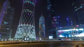 西湾地区的地平线在多哈timelapse hyperlapse,卡塔尔的 股票视频