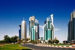 西湾是多哈,卡塔尔的新开发的市区 库存图片