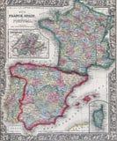 西班牙、法国和葡萄牙的古色古香的地图 库存照片
