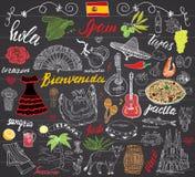 西班牙乱画元素 与西班牙字法,食物肉菜饭,虾,橄榄,葡萄,爱好者,葡萄酒桶,吉他,音乐的手拉的集合 免版税库存照片