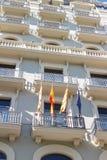 西班牙人、加泰罗尼亚语和欧洲人旗子 图库摄影