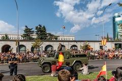 西班牙人国庆节军队游行 免版税库存照片