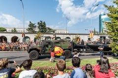 西班牙人国庆节军队游行 免版税图库摄影