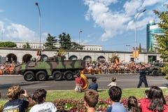 西班牙人国庆节军队游行 免版税库存图片