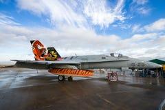 西班牙人空军队F/A-18大黄蜂喷气式歼击机飞机 图库摄影