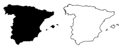 西班牙传染媒介图画仅简单的锋利的角落地图  Mercato 皇族释放例证
