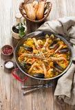 西班牙传统海鲜肉菜饭 库存图片