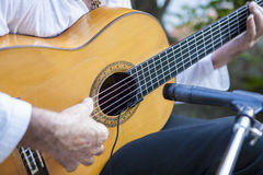 西班牙佛拉明柯舞曲吉他弹奏者使用 免版税库存照片