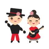 西班牙佛拉明柯舞曲舞蹈家集合 与桃红色面颊和闪光的Kawaii逗人喜爱的面孔注视 有吉他和男孩的吉普赛女孩有响板的,关于 免版税库存照片