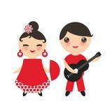 西班牙佛拉明柯舞曲舞蹈家集合 有爱好者和男孩的吉普赛女孩有吉他的,红色白色礼服,隔绝在白色背景 Kawaii逗人喜爱的f 免版税库存照片