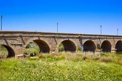 西班牙入口罗马桥梁的梅里达 图库摄影