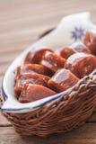 西班牙加调料的口利左香肠(塔帕纤维布) 库存图片