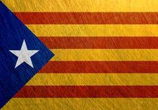 西班牙卡塔龙尼亚旗子金属钢背景 库存照片