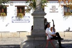 西班牙吉他弹奏者在格拉纳达,安大路西亚 库存照片