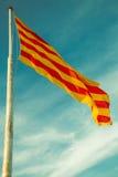 西班牙和加泰罗尼亚旗子 库存照片