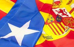 西班牙和卡塔龙尼亚的标志 库存图片