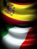 西班牙和意大利的旗子 免版税库存照片