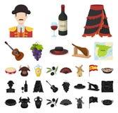 西班牙国家动画片,在集合收藏的黑象的设计 旅行和吸引力传染媒介标志股票网 皇族释放例证