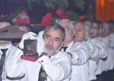 西班牙圣周队伍  免版税图库摄影