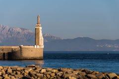 西班牙城市塔里法角在直布罗陀海峡 免版税图库摄影