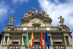 西班牙城市潘普洛纳,西班牙的市政厅 免版税库存照片