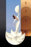 西班牙城市风景的佛拉明柯舞曲舞蹈家 免版税库存照片