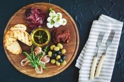 西班牙塔帕纤维布或意大利开胃小菜的分类 图库摄影