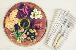 西班牙塔帕纤维布或意大利开胃小菜的分类 免版税库存照片