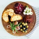 西班牙塔帕纤维布或意大利开胃小菜的分类 免版税库存图片