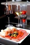 西班牙塔帕纤维布酒 免版税库存图片