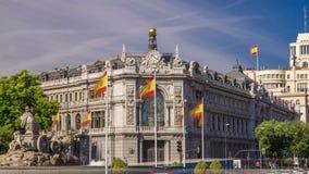 西班牙大厦timelapse hyperlapse历史的银行和Cibeles摆正在普拉多大道和Alcala街道之间  影视素材