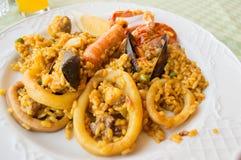 西班牙大米肉菜饭用海鲜 免版税图库摄影