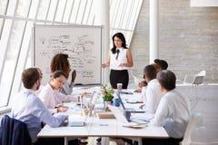 西班牙女实业家主导的会议在会议室表上 库存图片